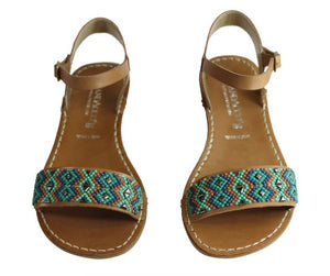 Andacco 'Roma' Beaded Leather Sandals