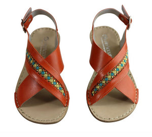 Boho Babe 'Veronique' Beaded Leather Andacco Sandals