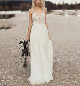 Bohemian Princess Lace & Chiffon Backless Wedding Dress