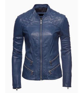 Gorgeous Cobalt Blue Tailored Leather Biker Jacket