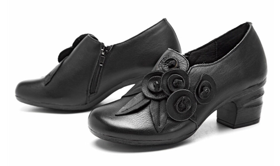 Handmade Leather Pumps with Appliqué Leather Roses