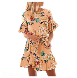 Boho Babe Oriental Tiger Super Cute Frilly Mini Dress