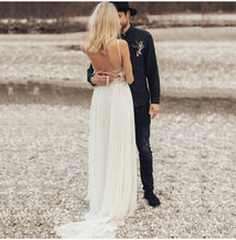 Load image into Gallery viewer, Bohemian Princess Lace & Chiffon Backless Wedding Dress