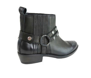Inuovo 'Magnetar' Black Leather Buckle Up Boots