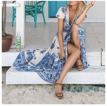 Load image into Gallery viewer, Boho Babe Retro Revival Blue Flower Print Holiday Sun Dress