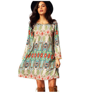 Boho Babe Super Cute Aztec Inspired Geometric Print Cactus Midi Dress