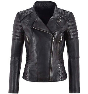 Beautifully Tailored Black Leather Biker Jacket