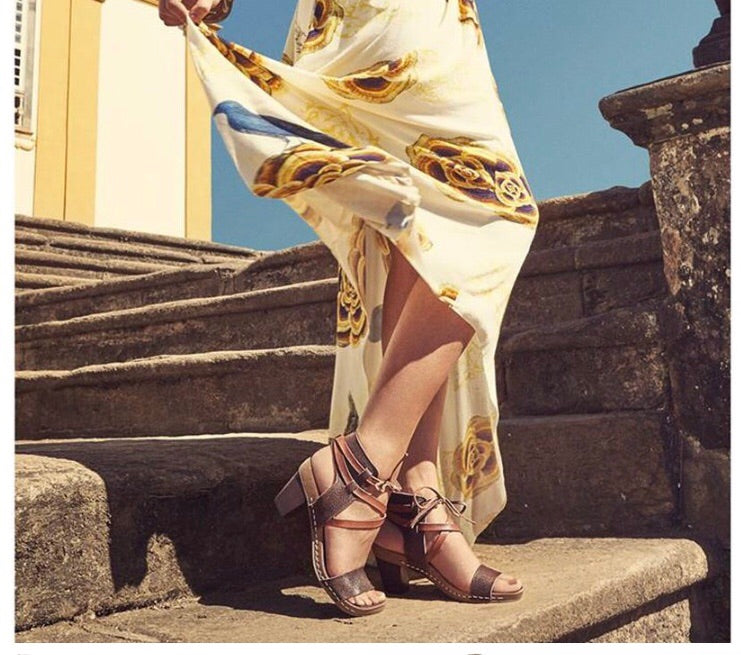 Boho Babe 'Nina' Andacco Strappy Wrap Round Leather Sandals