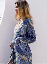 Load image into Gallery viewer, Boho Babe Blue Kaftan Style Maxi Dress