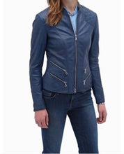 Load image into Gallery viewer, Gorgeous Cobalt Blue Tailored Leather Biker Jacket