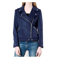 Load image into Gallery viewer, Chic Indigo Asymmetrical Suede Jacket