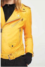 Load image into Gallery viewer, Super chic gorgeous banana yellow leather jacket