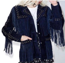 Load image into Gallery viewer, Outback Cowgirl Indigo Fringed & Studded Suede Jacket