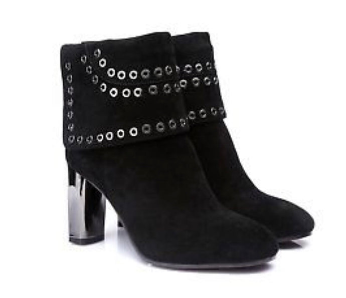 City Chic Kid Suede & Sheepskin Boots With Silver Stud Detail