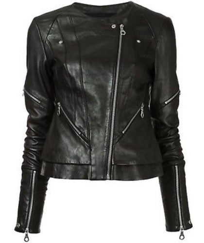 Chic Gorgeous Black Leather Fitted Biker Jacket