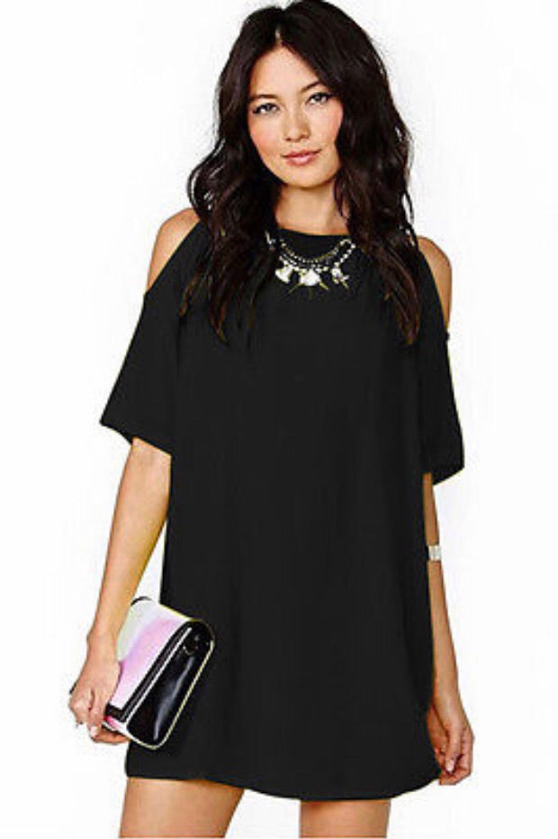 Cold Shoulder Super Sassy Black Mini Shift Dress