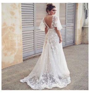 Bohemian Princess Batwing Lace Wedding Dress With Sweep Train