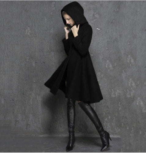 Wool Blend Hooded Black Assassin Flared Trench Coat
