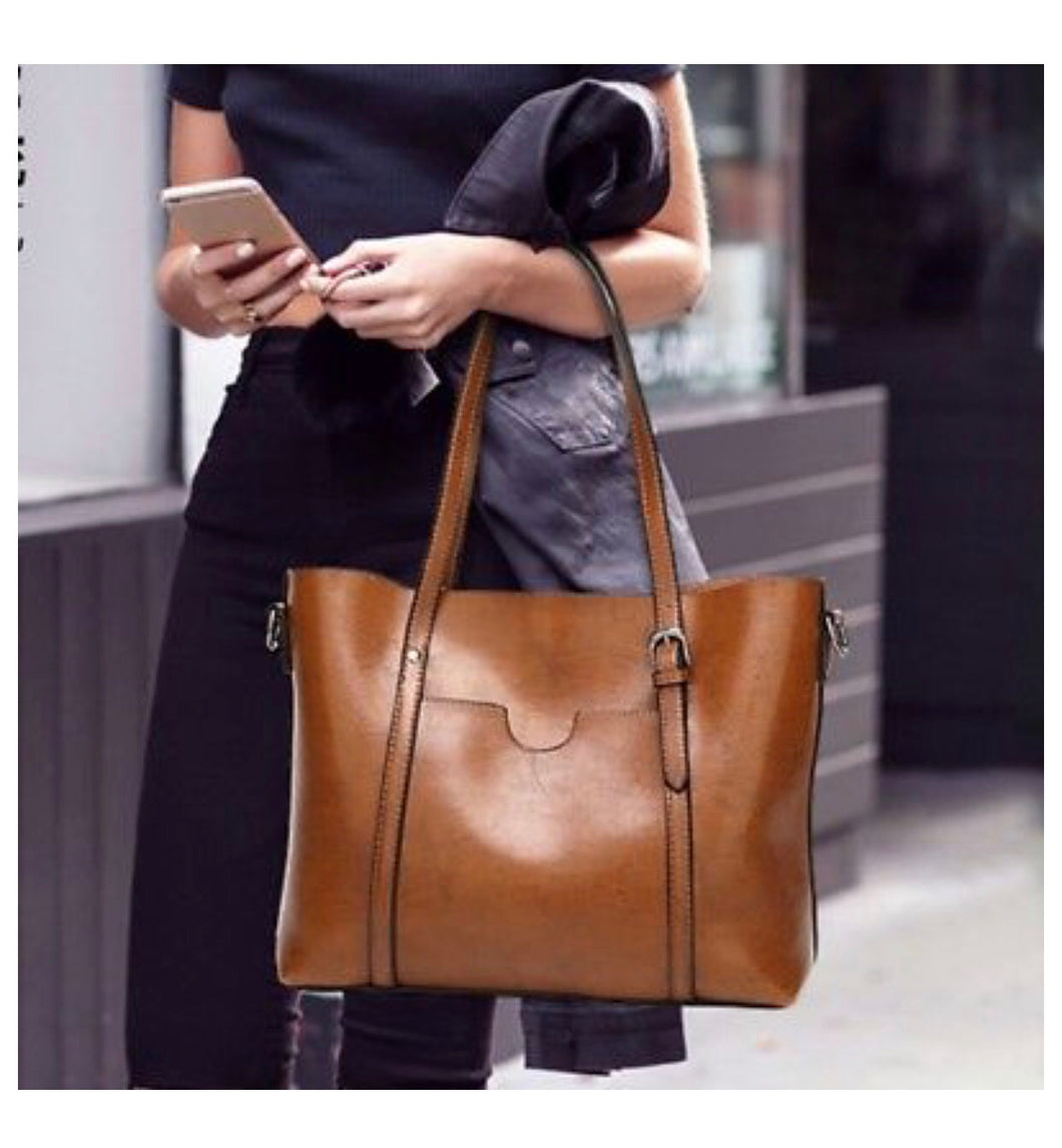 Super Chic Waxed Leather Tote Bags