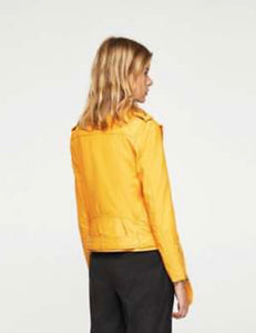 Super chic gorgeous banana yellow leather jacket