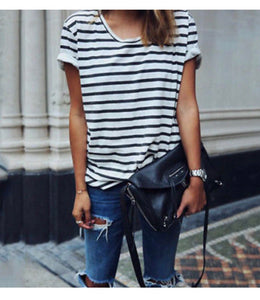 Casual Cotton Striped Paris Tee