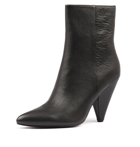 Chic Black Leather Mollini Apage Ankle Boots