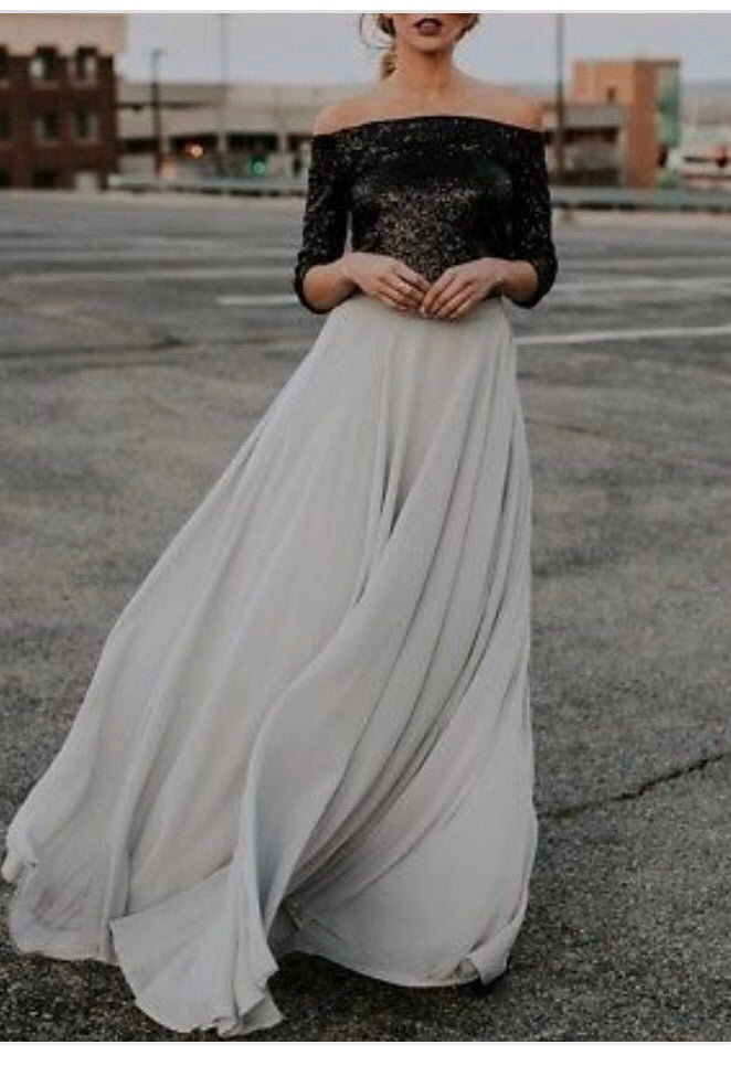City Chic Grey Chiffon Maxi Skirt
