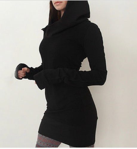 Hooded Black Assassin Bodycon Knit Jumper Dress