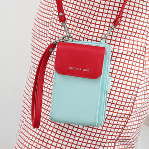 Multifunctional Leather Phone Bag Roomy Card Wallet Fashion Shoulder Bag