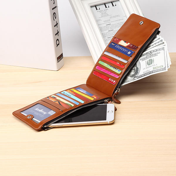 Women Waxy Ultra Thin Leather Long Purse Elegant Card Multi Card Holder Phone Wallet Coin Bag