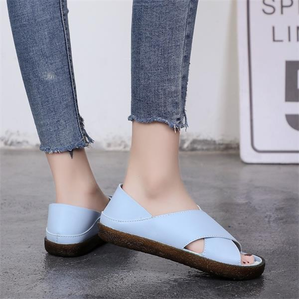 Women Faux Leather Sandals Casual Comfort Peep Toe Shoes