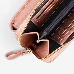 Women Solid Faux leather Clutch Bag 4 Card Slot Card Bag Phone Bag Leisure Crossbody Bag