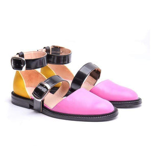 Color Blocking Chic  Buckle Flat Sandal