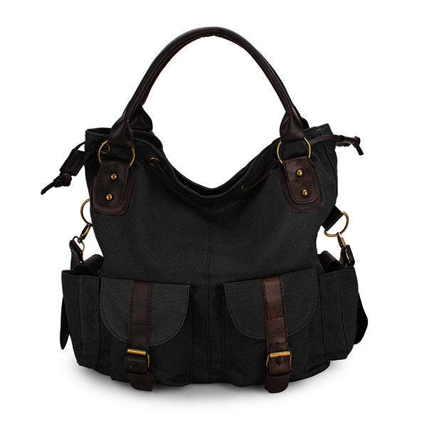Women Multi-pocket Canvas Handbags Casual Crossboody Bag Leisure Shopping Shoulder Bags