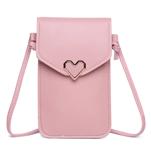 Women Heart Shaper Flap Touch Screen 5.5inches Phone Bag Crossbody Bag Shoulder Bag