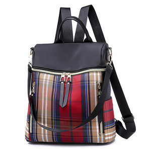 Women Nylon Large Capacity Backpack Hit-color Casual Bag