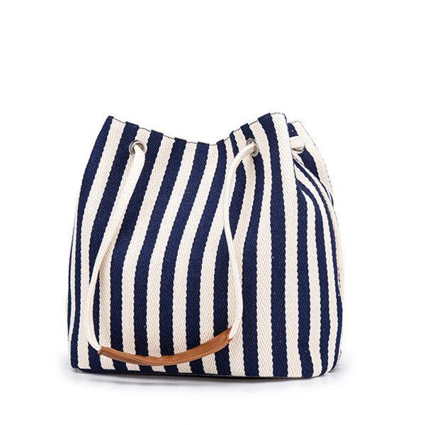Women Canvas Stripe Bucket Bags Multi-function Crossbody Bags Casual Shoulder Bags