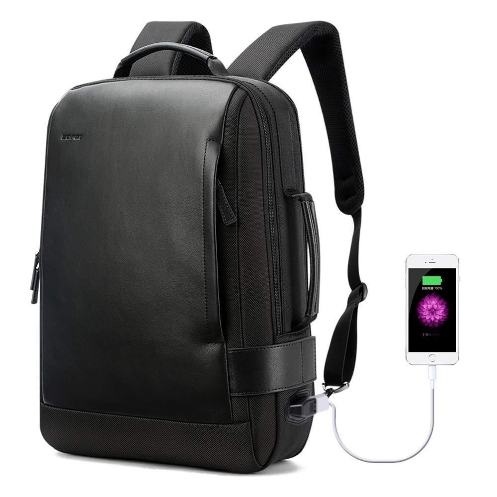 15.6 Inch Black Leather Backpack with USB Port