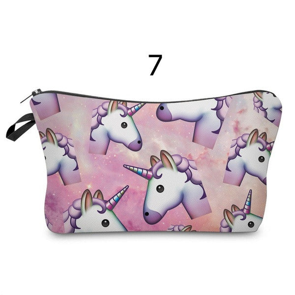 Unicorn Emoji Series 3D Printing Cosmetics Bags Storage Cases Party Make up Bag