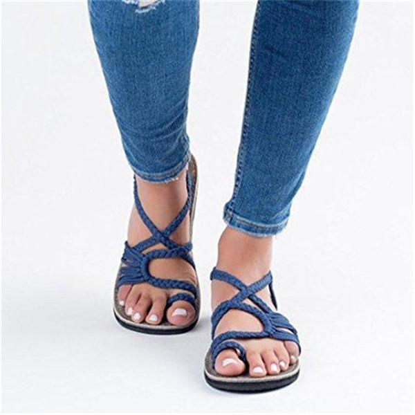 2019 Summer Knitted Fabric Breathable Beach Flat Sandals