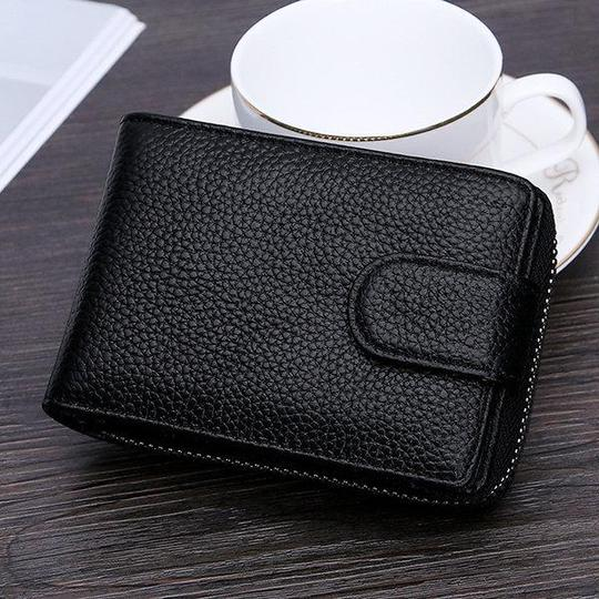 RFID Genuine Leather Wallet 10 Card Slot Purse