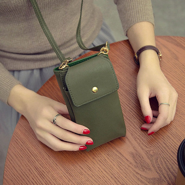 Women Pure Color  Leather 5.5inch Phone Bag Wallet Crossbody Bag Purse