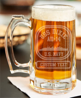 Custom USS Ship Etched Beer Stein - Custom Military Apparel & Accessories