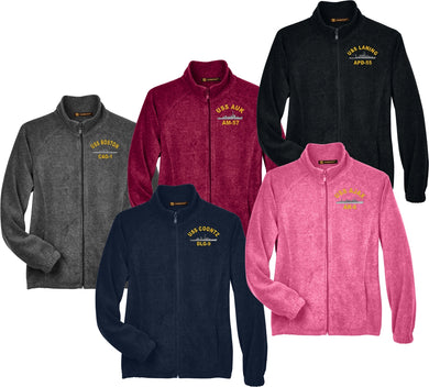 Embroidered USS Ship Harriton Ladies' 8 oz.  Full-Zip Fleece - Custom Military Apparel & Accessories
