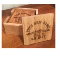 Laser Etched Ship Bamboo Coaster Set (4) - Custom Military Apparel & Accessories