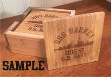 Load image into Gallery viewer, Laser Etched Ship Bamboo Coaster Set (4) - Custom Military Apparel & Accessories