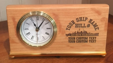 Custom Laser Etched 4x7 Ship Desk Clock - Custom Military Apparel & Accessories