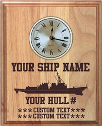Custom Laser Etched 8 x 10 Ship Wall Clock - Custom Military Apparel & Accessories