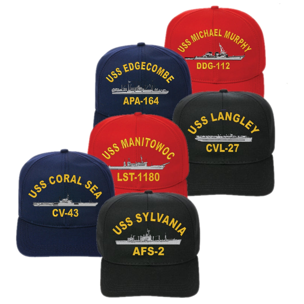 Adjustable Fit Embroidered USS Ship Cap - Custom Military Apparel & Accessories