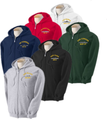 Embroidered USS Ship Hooded Sweatshirt - Full Zip - Custom Military Apparel & Accessories
